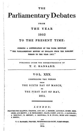 The Parliamentary Debates from the Year 1803 to the Present Time   06 PDF