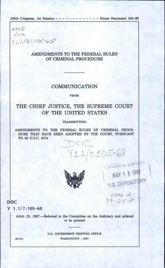 Amendments to the Federal Rules of Criminal Procedures PDF