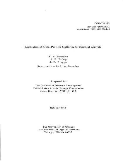 Application of Alpha particle Scattering to Chemical Analysis PDF