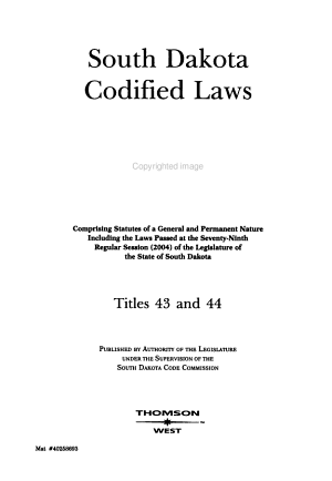 South Dakota Codified Laws PDF