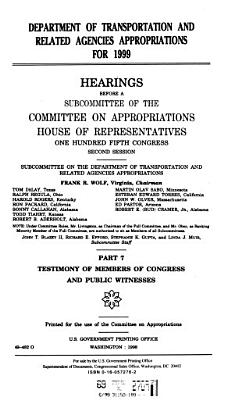 Department of Transportation and Related Agencies Appropriations for 1999 PDF