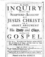 An Humble Inquiry Into the Scripture account of Jesus Christ PDF