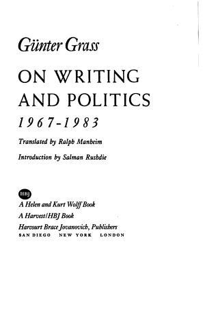 On Writing and Politics, 1967-1983