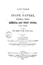 Calendar of State Papers, Colonial Series ...: Preserved in the Public Record Office ...