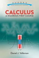 Calculus  A Rigorous First Course PDF