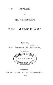 "Analysis of Mr. Tennyson's ""In Memoriam"""