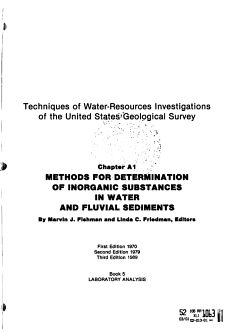 Techniques of Water resources Investigations of the United States Geological Survey  chap  A1  Methods for determination of inorganic substances in water and fluvial sediments  Supersedes 1970 chap  and  Selected methods of the U S  Geol  Survey for the analysis of wastewaters    PDF