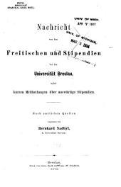 Nachricht von den freitischen und stipendien bei der Universität Breslau
