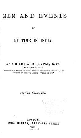 Men and Events of My Time in India PDF