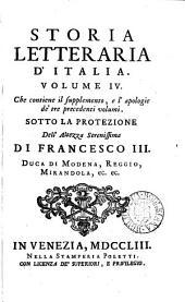 Storia letteraria d'Italia: Volume 4