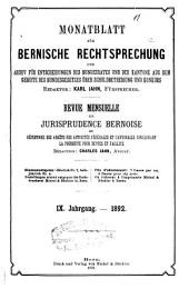Monatsblatt für bernische rechtsprechung ...: Revue mensuelle de jurisprudence bernoise, Band 9