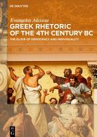 Greek Rhetoric of the 4th Century BC PDF