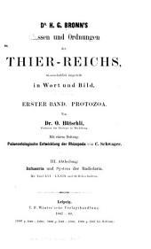 Klassen und ordnungen des thierreichs: Protozoa. - Abth. 1. Sarkodina und Sporozoa. - Abth. 2. Mastigophora. - Abth. 3. Infusoria und System der Radiolaria