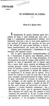 Circolare sui commissarj di guerra Roma li 2 Agosto 1848