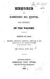 Memorie di Lorenzo Da Ponte, da Ceneda: in tre volumi, Volume 3