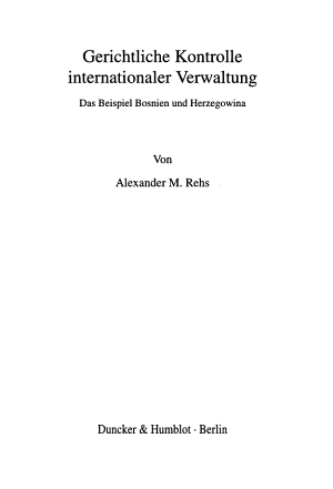 Gerichtliche Kontrolle internationaler Verwaltung PDF