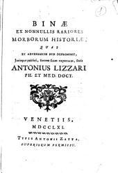 Binæ ex nonnullis rariores morborum historiæ ... Antonius Lizzari ..