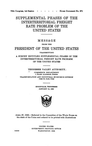 Supplemental Phases of the Interterritorial Freight Rate Problem of the United States
