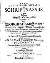Disputatio Inauguralis De Schriftsassiis