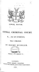 Central Criminal Court Minutes Of Evidence Book PDF