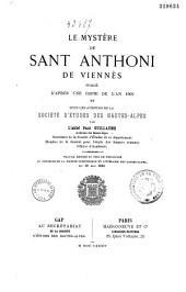 Le mystère de Sant Anthoni de Viennès: publié d'après une copie de l'an 1503