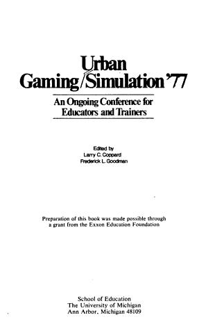 Urban Gaming simulation  77 PDF