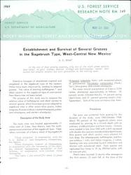 Establishment And Survival Of Several Grasses In The Sagebrush Type West Central New Mexico Book PDF