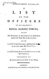 A List of the Officers of His Majesty's Royal Marine Forces