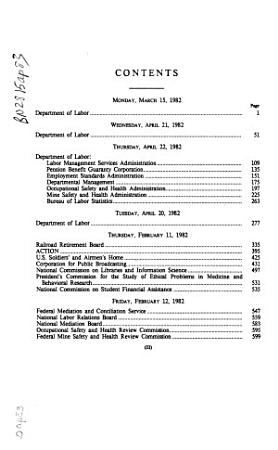 Departments of Labor  Health and Human Services  Education  and Related Agencies Appropriations for Fiscal Year 1983  Department of Labor PDF