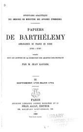 ... Papiers de Barthélemy: ambassadeur de France en Suisse 1792-1797, Volume3