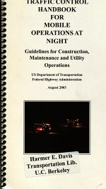 Traffic Control Handbook for Mobile Operations at Night