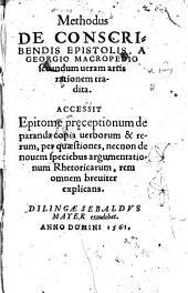 Methodus De Conscribendis Epistolis (etc.)