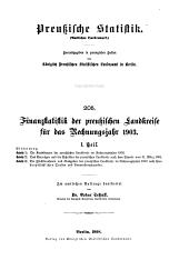 Finanzstatistik der preussischen Landkreise für das Rechnungsjahr 1903: Bände 1-2