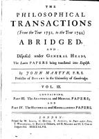 The philosophical transactions  from the year 1732 to the year 1744  PDF