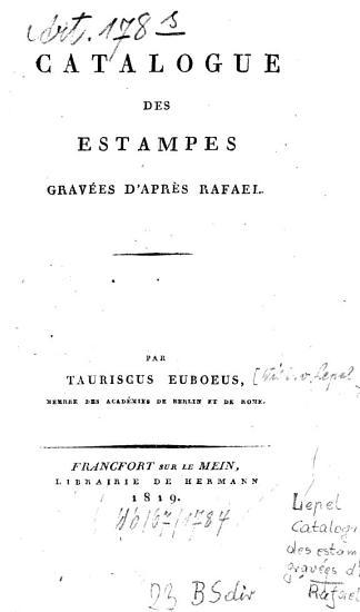Catalogue des estampes grav  es d apr  s Rafael PDF