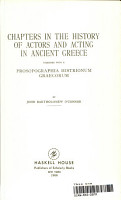 Chapters in the history of actors and acting in ancient Greece PDF