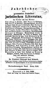 Jahrbücher der gesammten deutschen juristischen Literatur: Band 22