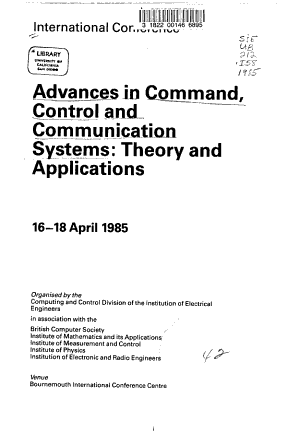 Advances in Command  Control  and Communication Systems PDF