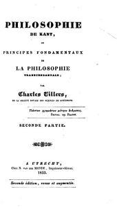 Philosophie de Kant: ou, Principes fondamentaux de la philosophie transcendentale