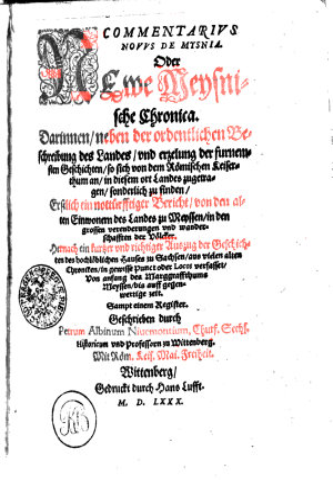 COMMENTARIVS NOVVS DE MYSNIA Oder Newe Meysnische Chronica PDF