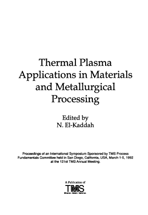 Thermal Plasma Applications in Materials and Metallurgical Processing PDF