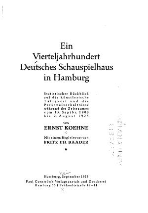 Ein Vierteljahrhundert Deutsches Schauspielhaus in Hamburg PDF
