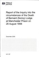 Report of the Inquiry Into the Circumstances of the Death of Bernard  Sonny  Lodge at Manchester Prison on 28 August 1998 PDF