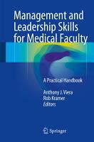 Management and Leadership Skills for Medical Faculty PDF