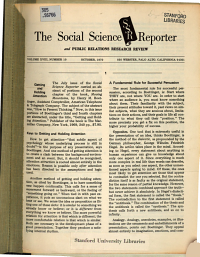 The Social Science Reporter and Public Relations Research Review PDF