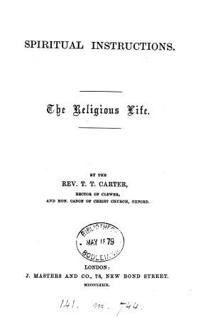 Spiritual Instructions  The Religious Life PDF