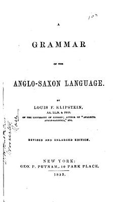 A Grammar of the Anglo Saxon Language PDF