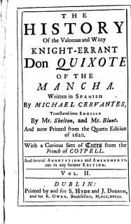 The History of the Valorous and Witty Knight errant Don Quixote of the Mancha Book