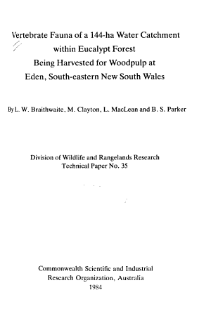 Division of Wildlife and Rangelands Research Technical Paper PDF