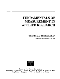 Fundamentals of Measurement in Applied Research Book